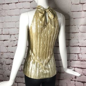 B WEAR Gold Lame M halter neck sleeveless top